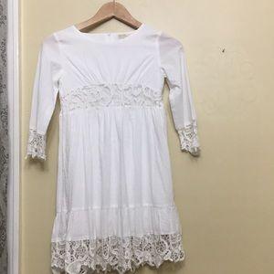 Zara 9-10 Years Old White Dress 100% Cotton.